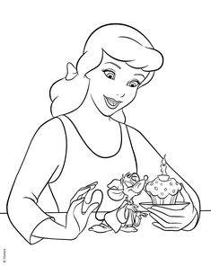 it seems that cinderella made a special birthday cake for her friend jaq just print and color this printable cinderella coloring sheet and have fun