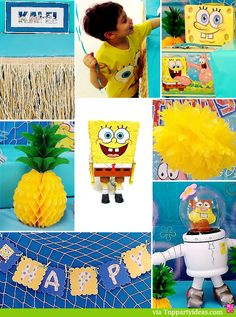 Sponge Bob Party Decorations - Tissue Flowers, Banners, grass skirts, fish nets, blow up characters