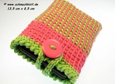 Handytasche Candy für iPhone und große Smartphones, pink, grün von www.schmuckkistl.de auf DaWanda.com