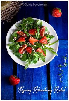 Recipe: Spring and Arugula, Maché Strawberry Salad with Mustard Vinaigrette  http://www.foodbuzz.com/recipes/5249846-spring-and-arugula-mach-strawberry-salad-with-mustard-vinaigrette-vegan-