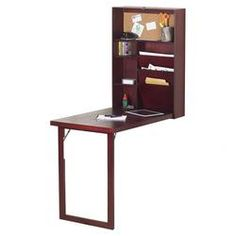 Wall Mount Hideaway Desk in Mahogany