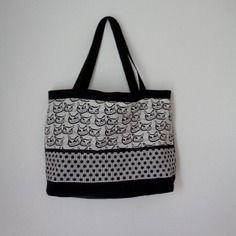 Cabas zippé lin noir et motif chat