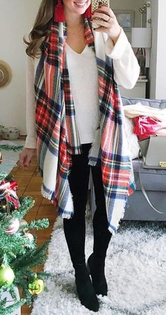 #winter #outfits white, black, and red plaid scarf