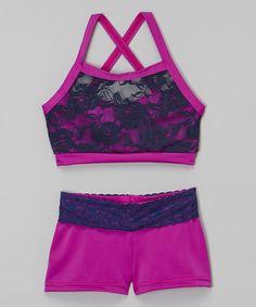 Elliewear Purple Heart Lace Crop Top & Purple Shorts - Girls by Elliewear #zulily #zulilyfinds
