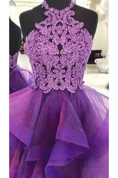 A Line Halter Purple Homecoming Dresses, Short Prom Dress With Lace PF – Promfast Modest Homecoming Dresses, Discount Prom Dresses, Short Dresses, Wedding Dresses, Purple Party Dress, Short Prom, Lace Dress, Dresses With Sleeves, Sweet 15