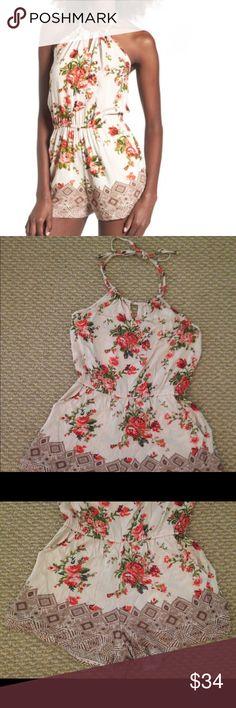 Halter Romper (cream w/ floral print) Large NEW Halter Romper (cream w/ floral print) Large NEW W/ Tag  Chic! Dresses Strapless