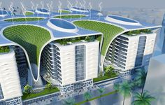 The ultimate green-building 'Gate Residence' futuristic billion-pound complex in Cairo, fitted with solar panels, wind turbines and more. Images © Vincent Callebaut The Gate Residence 1000 apartments… Green Architecture, Futuristic Architecture, Sustainable Architecture, Sustainable Design, Amazing Architecture, Landscape Architecture, Architecture Design, Pavilion Architecture, Residential Architecture
