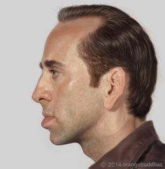 Nicolas cage (face in profile)caricature portrait painting