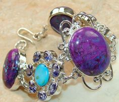 Purple Turquoise, Larimar, Amethyst Faceted bracelet designed and created by Sizzling Silver. Please visit  www.sizzlingsilver.com. Product code: BR-7499