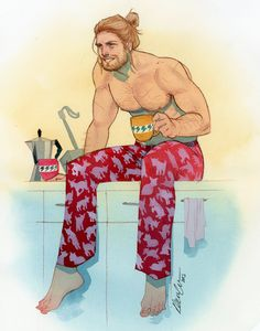 kevin wada illustration: Thor HeroesCon 2015 commission<<<I like really love this. Imagine finding this in your kitchen... I think I'd melt!
