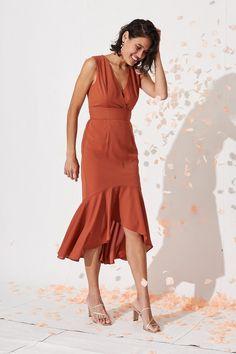In The Air Midi Dress in Rust Orange - St Frock