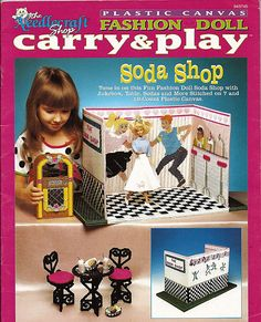 Fashion Doll Carry and Play Soda Shop  Plastic Canvas Pattern The Needlecraft Shop 943745. $12.00, via Etsy.