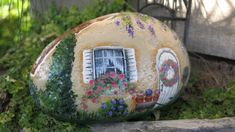 Painted fairy garden cottage rock miniature gnome by MyPaintedSwan