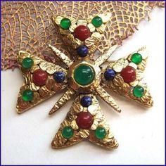Maltese Cross Pin Lapis Carnelian Jade Brooch Vintage 1950s Jewelry $145