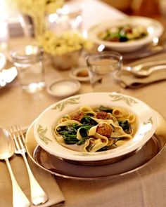 Turkey-Meatball Soup with Escarole and Pappardelle from marthastewart.com