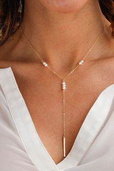 The best-selling Galactic Bar Necklace's new sister! A dainty statement Y-style…