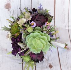 Plum, Eggplant and Peach Fall Wedding Rustic Bouquet with Peonies, Dahlias, Succulents and Dusty Miller. Perfect for a Backyard, Rustic or Vineyard Wedding.