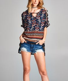 This Navy & Rust Floral Side-Slit Cutout Tunic is perfect! #zulilyfinds