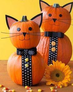 Decorated cat pumpkin