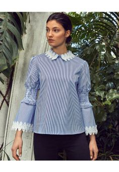 Smocked fluted sleeve cotton shirt