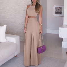 Solid Crop Top & Self-Belt Wide Leg Pant Sets. Women 2019 Fashion Elegant Formal Office Sleeveless Casual Suit Sets Ladies Solid Crop Top & Self-belt Wide Leg Pant Sets Overview: Gender: Women Material: Polyester Sleeve Length(cm): Sleeveless S Traje Casual, Casual Suit, Casual Fall, Casual Shoes, Birthday Dress Women, Birthday Party Outfits, Birthday Woman, Cute Fashion, Look Fashion