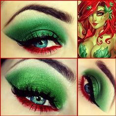 Probably going to be poison ivy for Halloween. Cool eye make-up Poison Ivy Cosplay, Poison Ivy Kostüm, Poison Ivy Makeup, Poison Ivy Costumes, Poison Ivy Nails, Poison Ivy Batman, Looks Halloween, Halloween Cosplay, Halloween Costumes