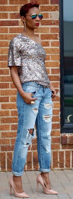 Young At Style  One Shoulder Sequin Top Fall Street Style Inspo #Fashionistas