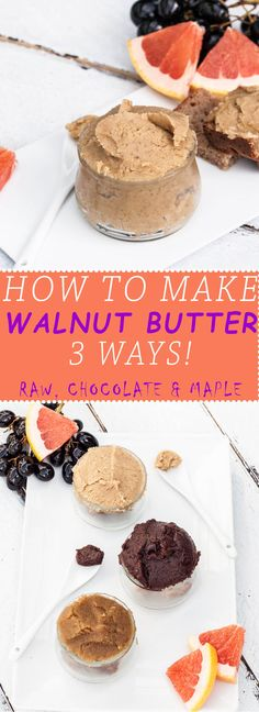 Walnut Butter is often overlooked but such a healthy spread to incorporate into any diet. Walnuts have many health benefits and have plenty of plant-based omega 3's. Learn exactly how to make your own Walnut Butter with a step by step guide. Choose between making a raw walnut butter, chocolate or maple. You can also just make all 3! The maple walnut butter actually tastes like cookie dough :) | VeganFamilyRecipes.com | #vegan #vegetarian