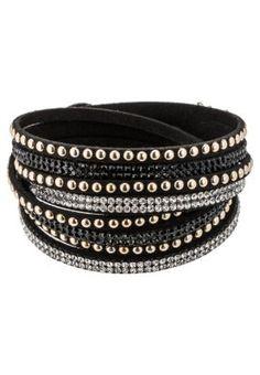 WANDA - Armband - black/crystal/gold-colored