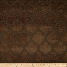 Tempo Pastis Quatrefoil Chenille Chocolate from @fabricdotcom  Refresh and modernize an old piece of furniture and update it with a new look. This medium/heavyweight chenille jacquard fabric is appropriate for accent pillows, heavier window treatments, upholstering furniture, headboards and ottomans.