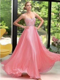 Front: Attractive A-line Sweetheart Beading Sleeveless Floor-length Chiffon Dress