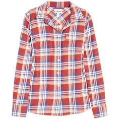 J.Crew Holden plaid cotton-blend shirt (110 AUD) ❤ liked on Polyvore featuring tops, shirts, plaid, tartan plaid shirt, shirt top, j crew shirt, plaid top and pocket shirt