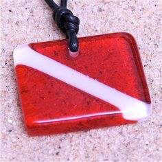 Dive Flag scuba diving flag diver jewelry scuba pendant leather fused Glass necklace by zulasurfing Mother's Day Gift