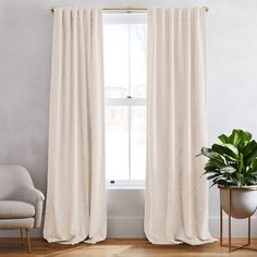 West Elm offers modern furniture and home decor featuring inspiring designs and colors. Create a stylish space with home accessories from West Elm. White Velvet Curtains, Velvet Curtains Bedroom, Striped Curtains, Cotton Curtains, Living Room Drapes, West Elm Curtains, Natural Curtains, Burlap Curtains, Quartos