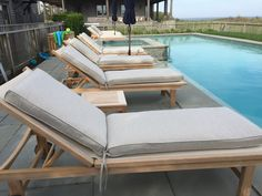 Kingsley Bate Chaise loungers pool side on Nantucket