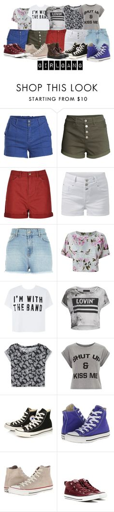 """""""Girl Gang"""" by fullofweakness ❤ liked on Polyvore featuring Pieces, H&M, M&S, River Island, adidas Originals, Religion Clothing, Aéropostale, Dorothy Perkins and Converse"""