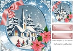 Lovely snow scene of a church with poinsettias 8x8 on Craftsuprint - View Now!