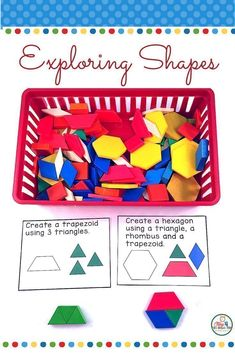 Geometry- two dimensional and three dimensional shapes.   Everything you need to teach all about flat and solid shapes is included in this set. posters, hands on activities, task cards, readers, games and more