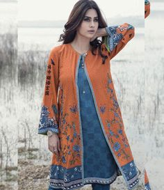 Maria B Embroidered Linen Suits collection ORANGE DL-305
