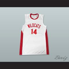 6a66deef48e Zac Efron Troy Bolton 14 East High School Wildcats White Basketball Jersey.  STITCH SEWN GRAPHICS