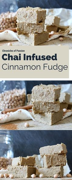This healthy, vegan fudge tastes like a chai latte, with loads of cinnamon, but it's made with nothing but healthy ingredients and is also packed with protein! Vegan Dessert Recipes, Fudge Recipes, Vegan Sweets, Healthy Sweets, Just Desserts, Delicious Desserts, Raw Desserts, Vegan Food, Healthy Snacks