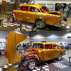 """""""Classical Gas"""" absolutely GORGEOUS '55 gasser! And it's not just a show car, it's raced a lot! #chevrolet #gasser #musclecarsunited"""