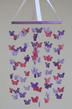 Butterfly Mobile - Baby Mobile in Purple, Lavender & Dark Pink