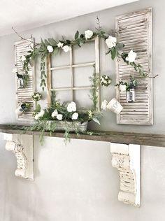 Antique Wood Mantel Shelf Window Frame a. - Antique Wood Mantel Shelf Window Frame and Flowers - Shabby Chic Homes, Shabby Chic Decor, Rustic Decor, Rustic Style, Shabby Chic Farmhouse, Farmhouse Style Decorating, Farmhouse Design, Shabby Chic Fireplace, Rustic Entryway