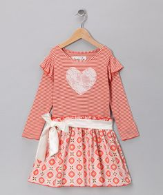 Take a look at this Orange Crush Heart Dress - Toddler & Girls by Wonder Me on #zulily today!