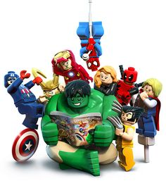 LEGO: Hulk, Captain America, Loki, Iron Man, Spider-Man, Black Widow, Deadpool, Thor and Wolverine