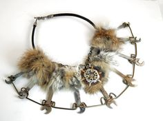 Post Apocalyptic Barbarian Bib Necklace Recycled Hardware Warrior Collar Mad Max Costume Industrial Wasteland Fur Tribal Festival Tank Girl