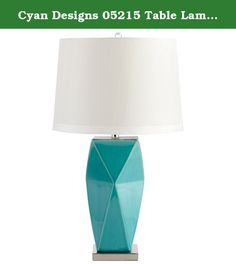 Cyan Designs 05215 Table Lamp with White Linen Shades, Cyan Blue Finish. Cyan Designs has an exceptional line of quality products aimed to please even the most discerning of consumers. Relish in the design of this 1 light Table Lamp; from the details in the White Linen, to the double coated Cyan Blue finish, this Table Lamp is not only durable, but a tastefully elegant showpiece.