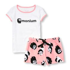 Baby Girls Short Sleeve '(Panda)Monium' Top And Printed Fleece Shorts Pj Set - White - The Children's Place