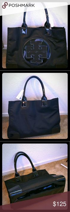 """Authentic*Tory Burch *Ella Nylon Tote*blk/blk*Lg Classic tote is crafted from durable nylon and trimmed in high-shine patent for a sleek, sophisticated look. Magnetic snap closure with exterior snaps at sides. Interior zip pocket with cell phone pockets.  This is a wonderful daily tote, very roomy!  Gently used, pls see pics 6&8 for interior stains/marks, overall it's in good condition. Only used a few times.  Measurements:17""""L x 13""""H x 10""""W Color:black Brand:Tory Burch Fabric:Nylon Tory…"""